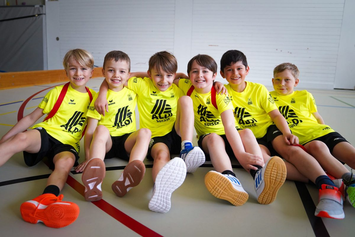 Group of children in a sports hall