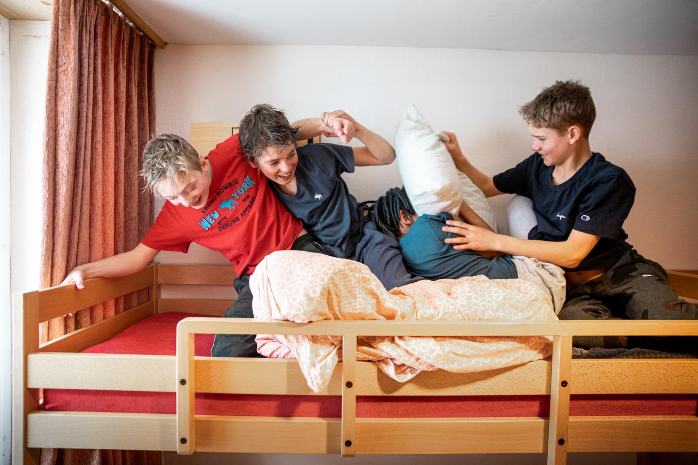 Children make a pillow fight