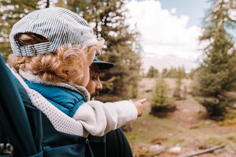 kleiner Junge im Kinderrucksack zeigt mit dem Finger auf einen Baum
