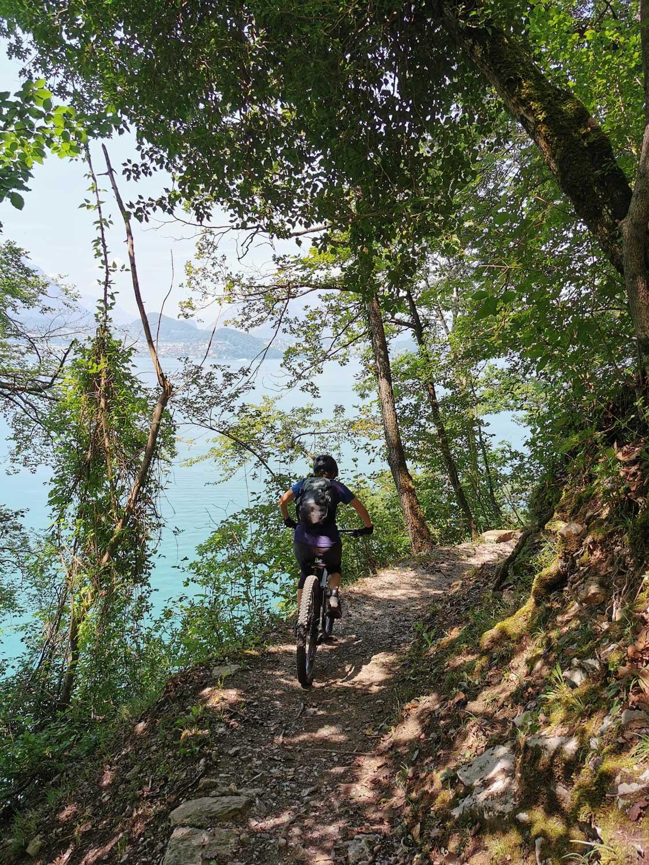 Frau auf dem Bike fährt auf Waldweg am See